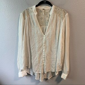 White Free People Lace Blouse